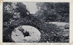 This postcard mailed from Brooklyn in 1907 shows an abandoned millstone reminiscent of the ones Samuel Gerritsen hid from the Hessians. {Collection of Joseph Ditta}