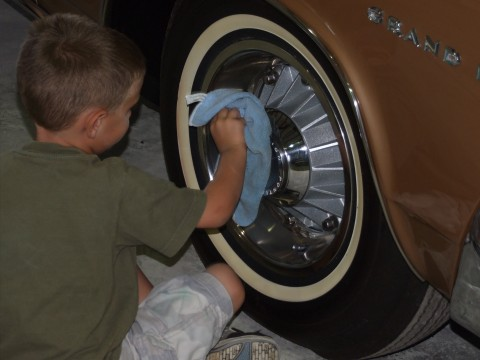 Award Winning Antique Auto Restorations by Mark Seybold George Seybold polishing 63 Grand Prix Wheels!