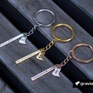Schlüsselanhänger mit Herz und Gravur Graviando