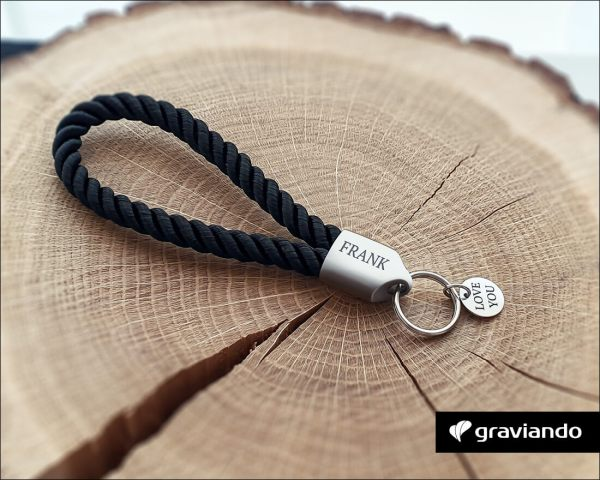 Schlüsselanhänger mit Gravur - segeltau gedreht Matt Graviando 2