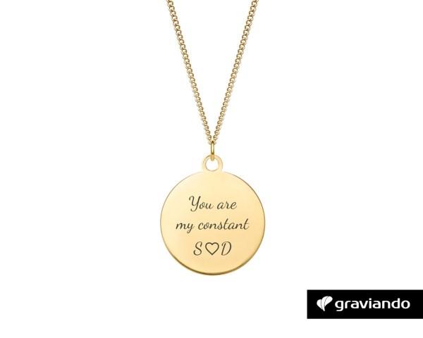 Halskette Kreis mit Gravur Gold Graviando