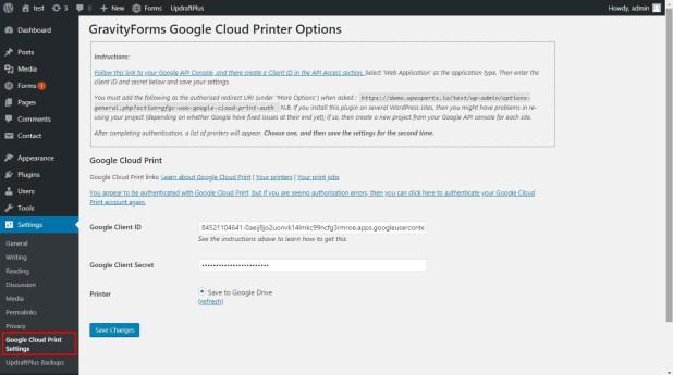 gravity forms google printer settings