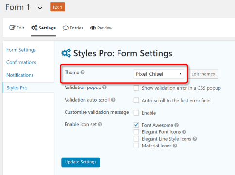 Apply Styles Pro theme to a Gravity Form