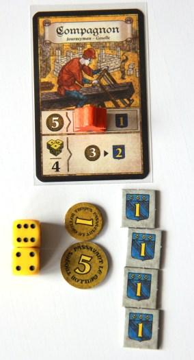 Przykład działania karty akcji - podwójna aktywacja koścmi w celu wymiany 6 denarów na 4 punkty zwycięstwa