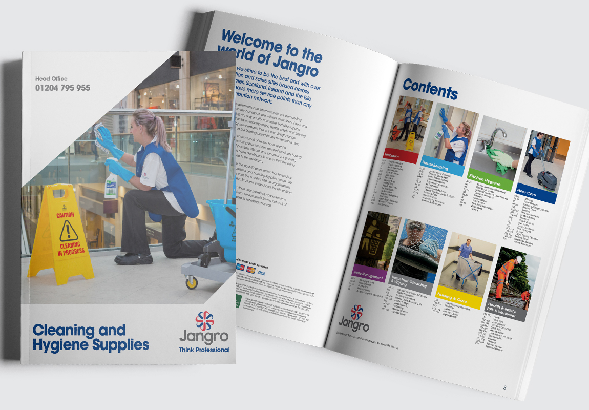Jangro Catalogue Cover and Contents Spread
