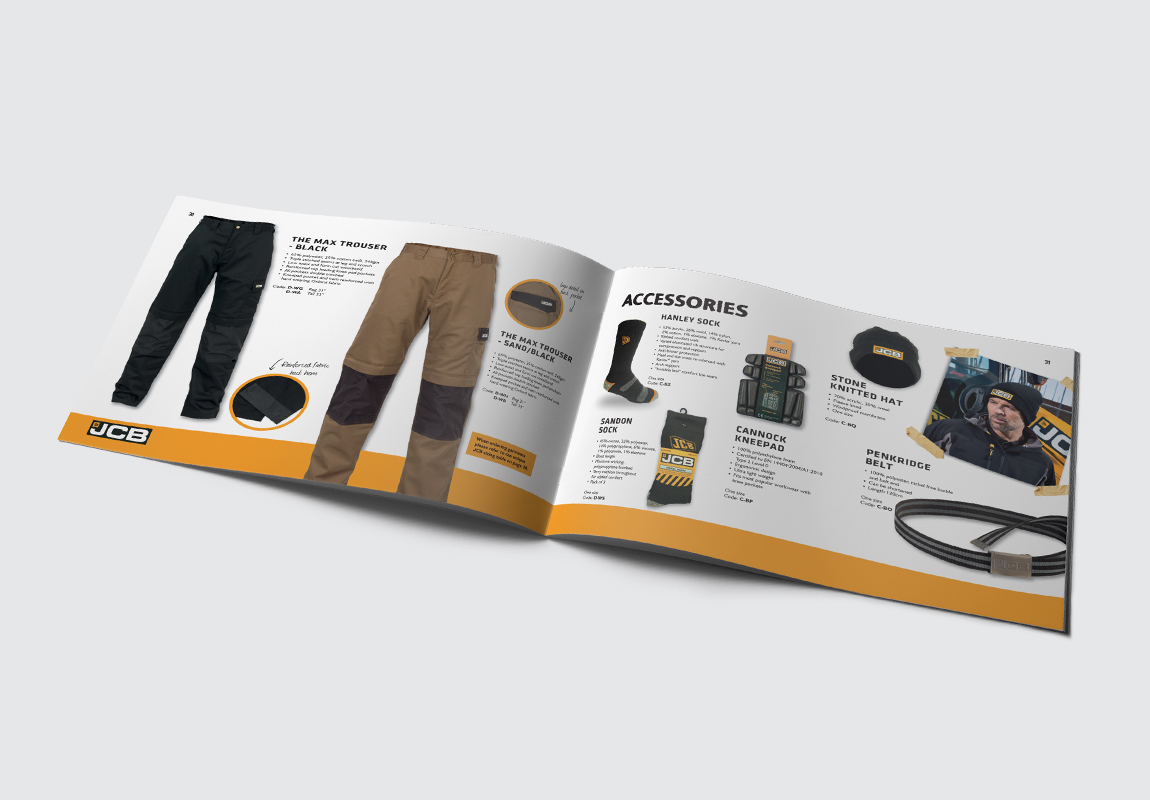 JCB Workwear Brochure Trousers and Accessories Spread