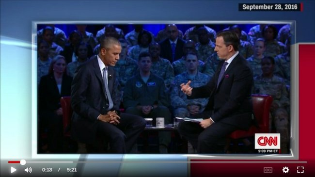 Obama and Tapper at CNN's September 2016 presidential town hall.