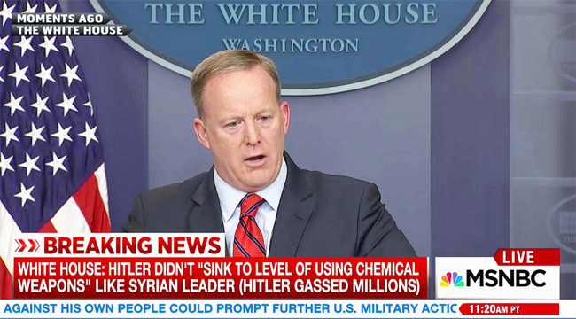 White House press secretary Sean Spicer speaking about chemical weapons.