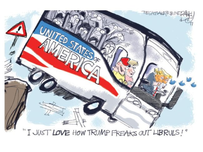 Trump drives USA bus off a cliff.