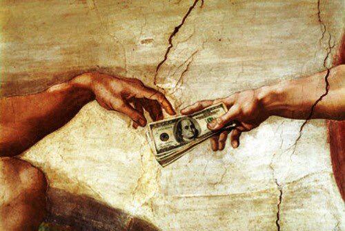 Man gives God cash.