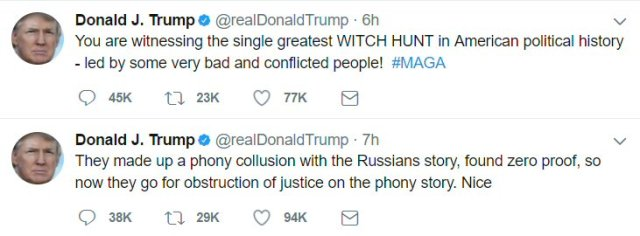 "Trump Tweets about phony collusion with Russians, ""witch hunt,"" etc. The usual lies/drivel."