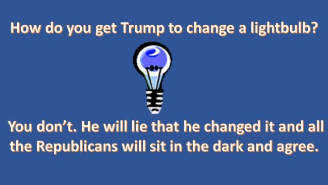 Meme: How do you get Trump to change a lightbulb? You don't. He will lie that he changed it, and all the Republicans will sit in the dark and agree.