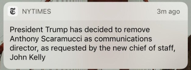 "Trump removes ""Mooch"" as communications director after only ten days"