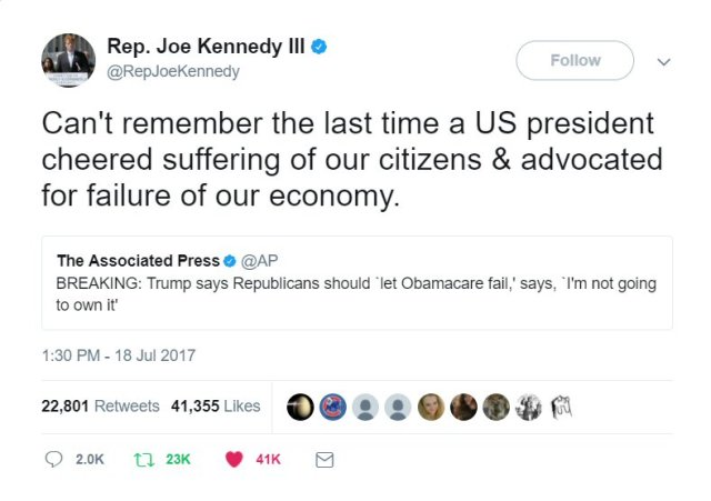 Tweet from Rep. Joe Kennedy III: Can't remember the last time a US president cheered suffering of our citizens & advocated for failure of our economy.