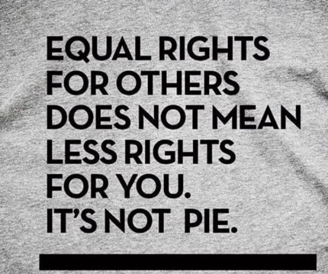 Equal rights for others does not mean less rights for you. It's not pie.