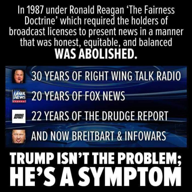 Eliminating the Fairness Doctrine resulted in decades of propaganda that Americans have been too stupid to check