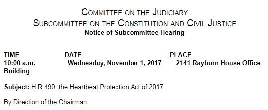 Meeting information for Heartbeat Protection Act, Wednesday 1 November 2017.