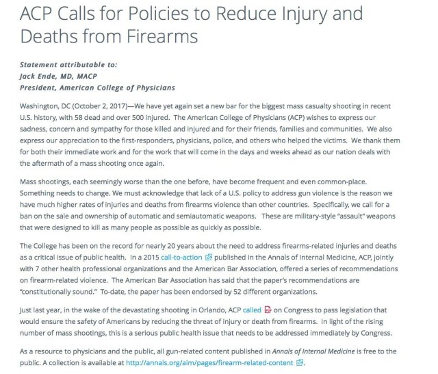 American College of Physicians calls for policies to reduce injury and deaths from firearms.