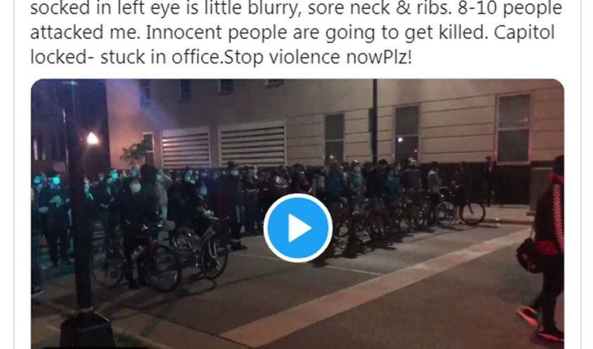 State Sen. Tim Carpenter posted a video showing demonstrators rushing toward him during Tuesday night's demonstrations. (Screenshot via Twitter)
