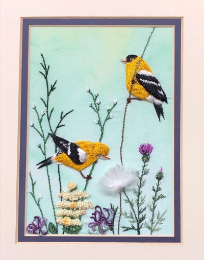 Embroidered birds 3D
