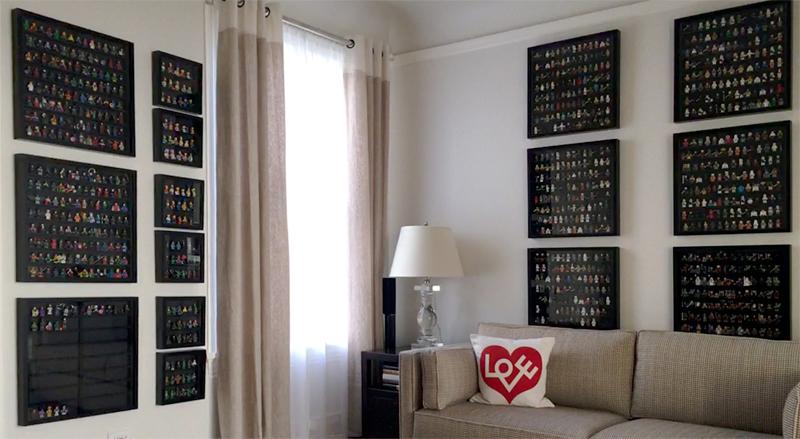 Lego minifigures displayed in IKEA frames.