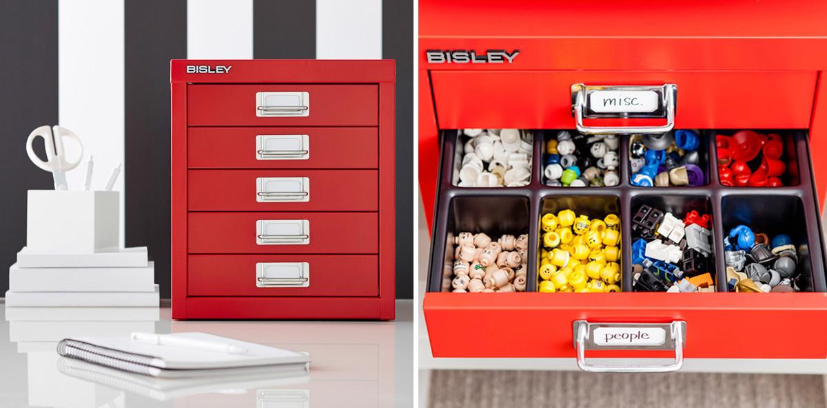 Bisley Red 5-Drawer Cabinet