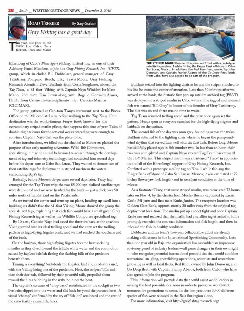 Gray FishTag Research Featured in Western Outdoor News