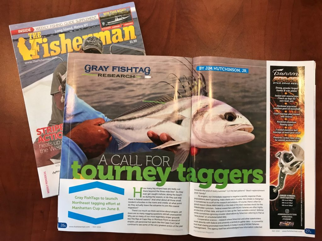 Gray FishTag featured in The Fisherman Magazine