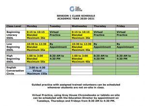 AY 20-21 Class Schedule
