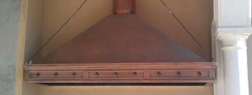 custom range hood copper