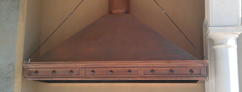 custom range hood copper