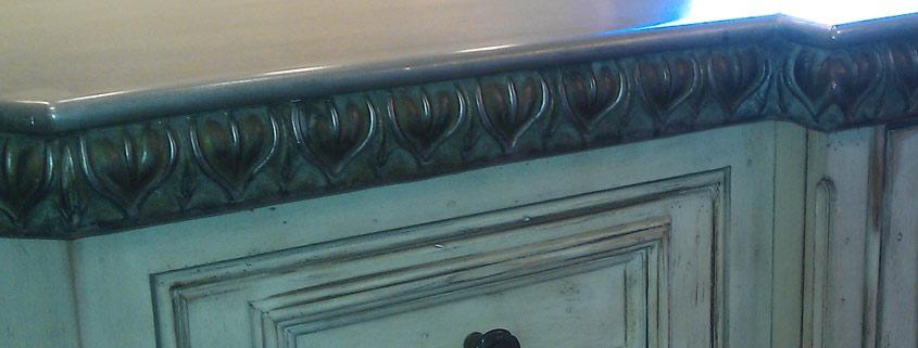 zinc countertop edge details