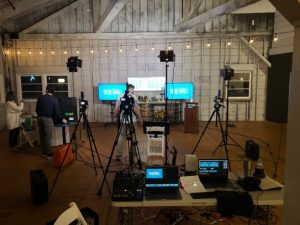 On set at a live stream event