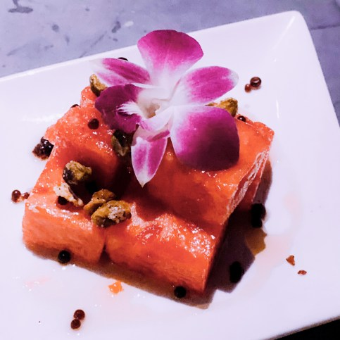 picture of watermelon salad from Azucar restaurant in palm springs