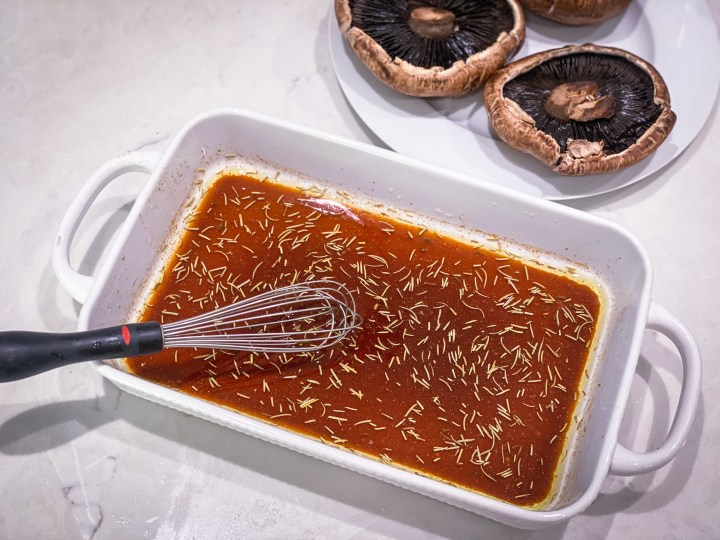 picture of the marinade for mushroom steaks