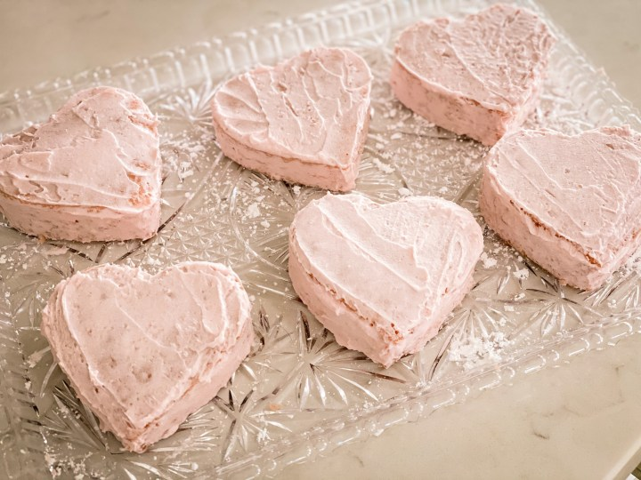 Picture of frosted heart cakes