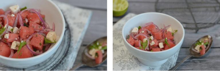 Ein leckerer Wassermelonen-Salat, der herrlich leicht und frisch ist.