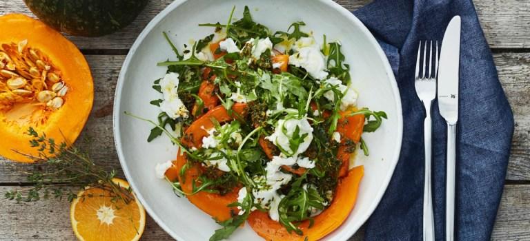 10 Tage, 10 Gerichte – Tag 4: Gedünstete Kürbisspalten mit Salat
