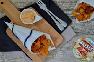 Barbecue à la BRESSO: Süßkartoffelchips mit Frischkäse-Dip