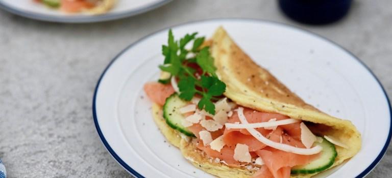 Happy Food: Omelette mit Räucherlachs & knackigem Gemüse