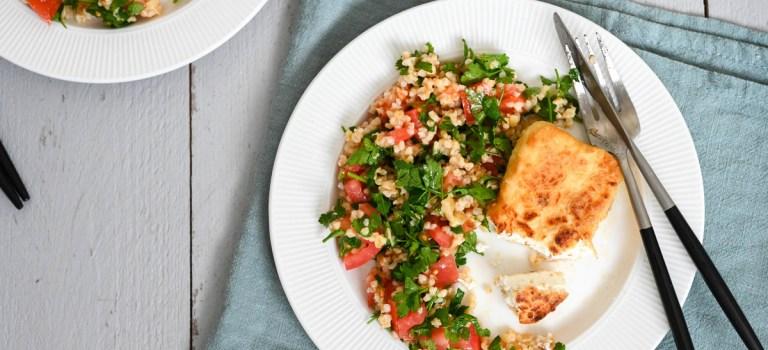 Vegetarisch Kochen: Tabouleh mit gebratenem Feta