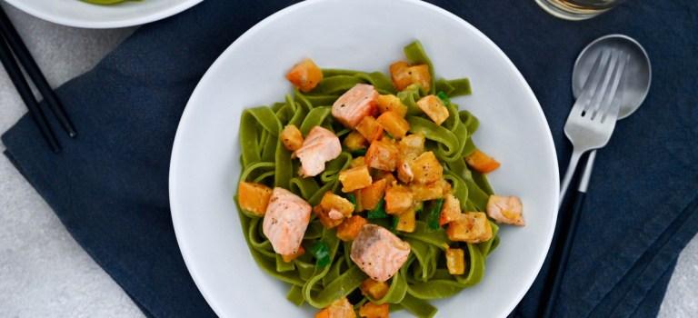 Pasta Wednesday: Spinat-Tagliatelle mit Lachs & Kürbis