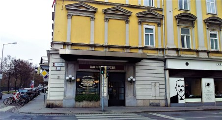 The facade of the Grand Café Weitzer in the building of the Hotel Weitzer