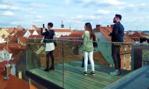 The skywalk over the roofs of the Old Town of Graz, listed as UNESCO world heritage site