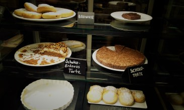 The pastries in the showcase