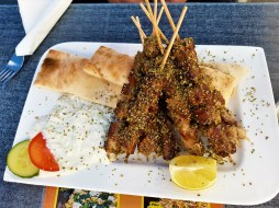 The delicious Souvlaki comes in three different sizes. This is the biggest portion with 8 sticks of meat