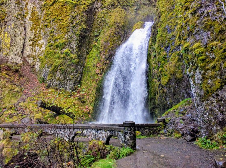 One of the many waterfalls at the Columbia River Gorge, right at the car pull-out