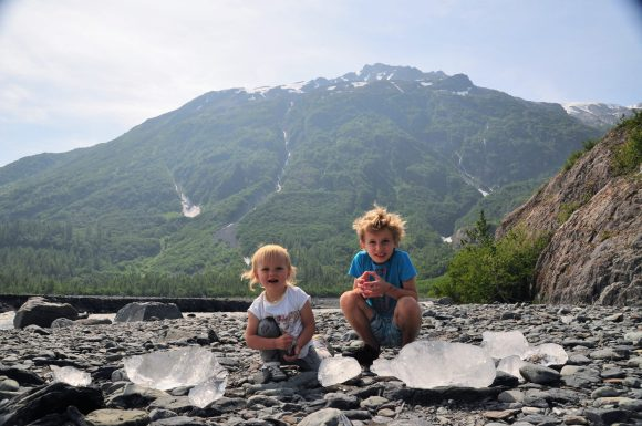 Kids with pieces of glacier ice
