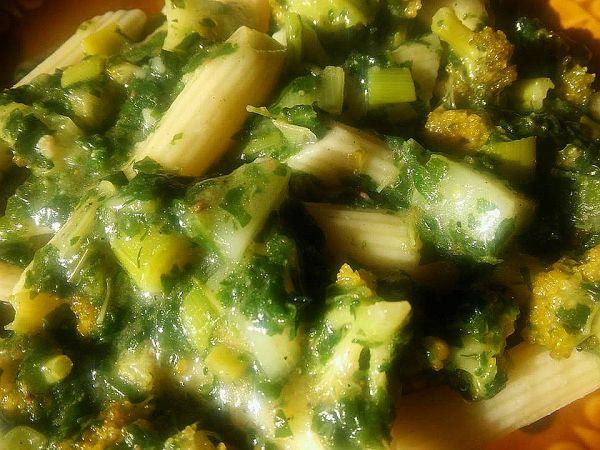 penne z zielonymi warzywami 1