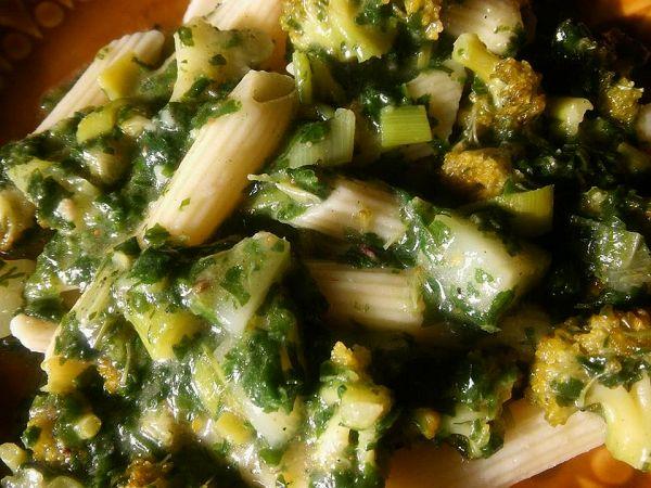 penne z zielonymi warzywami 2